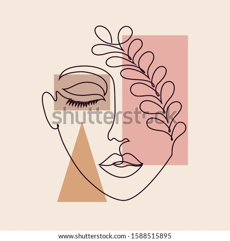 Abstract poster with minimal woman face.One line drawing style. Royalty-Free Stock Photo #1588515895