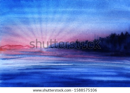Evening landscape. Lake with smooth water surface. On shore silhouette of dark forest. pink mountain of far bank in background sunset. Gradient of the sky from blue to lilac. Bright setting sun rays