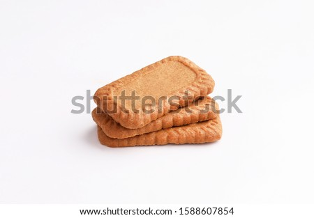 caramel biscuits isolated on white background  #1588607854