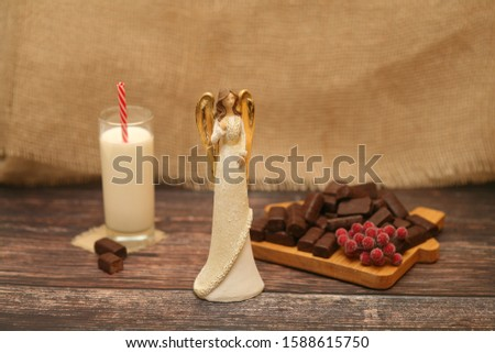 Angel figurine with milk and chocolate decoration #1588615750