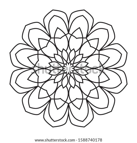 Easy mandala, basic coloring pattern on white background