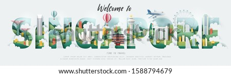 """Paper and flat art of Singapore building and famous landmark in the letters of """"SINGAPORE"""", vector art and illustration. #1588794679"""
