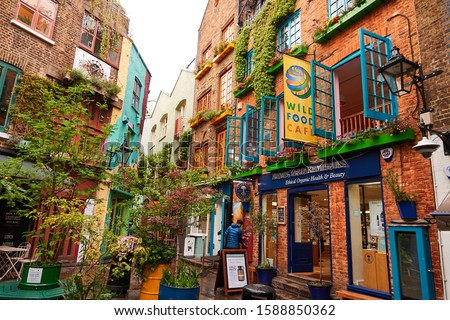 London/UK-July 30, 2019:Neal's Yard Colorful buildings in London touristic destination. Covent Garden.                         #1588850362
