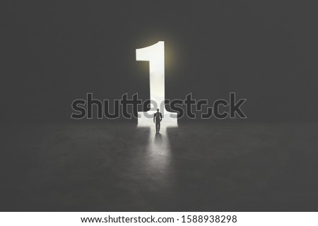 number one shaped as a hole in concrete wall, victory concept Royalty-Free Stock Photo #1588938298