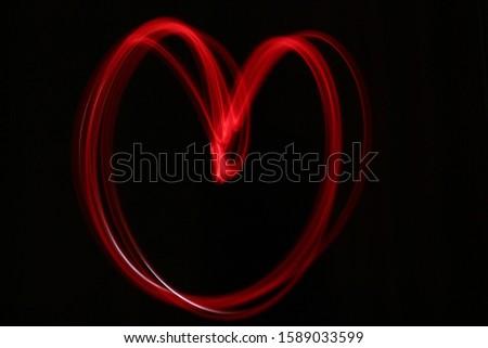 Slow Speed Shutter heart drawing light line