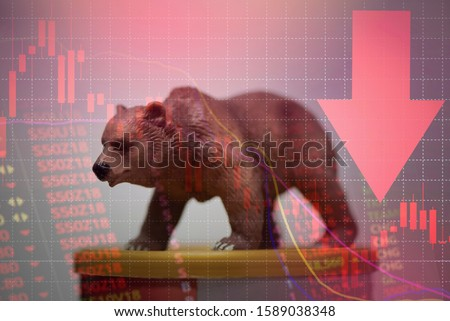 bull and bear market concept with stock chart digital numbers crisis red price drop arrow down chart fall / stock market bear finance risk trend investment business and money losing moving economic