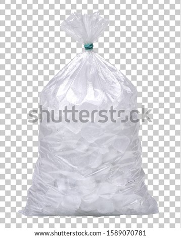Ice cubes in plastic bag, bagged ice or packaged ice mock up or mockup  on isolated transparent  background including clipping path. #1589070781