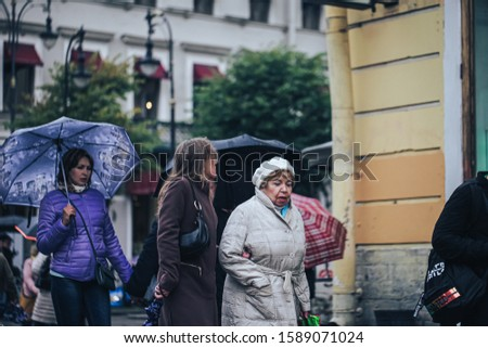 St Petersburg, Russia - September 21, 2019: People on the Streets of Nevsky Prospect in Saint Petersburg City in Russia #1589071024