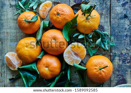 fresh clementine on wooden background #1589092585