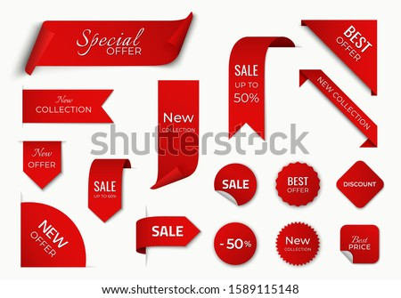 set of red sale label with discount offer. promotion label design. isolated vector tag images #1589115148