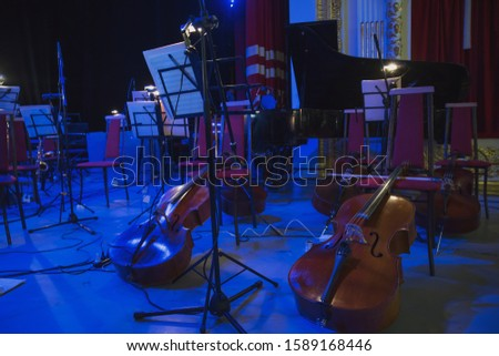 Musical instruments before the concert of the Symphony orchestra #1589168446