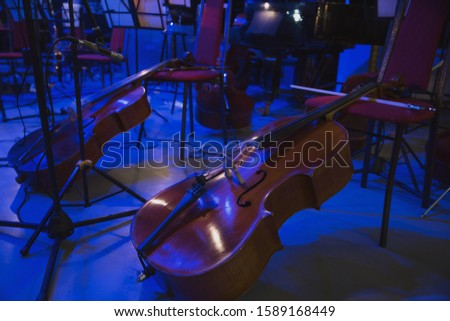 Musical instruments before the concert of the Symphony orchestra #1589168449