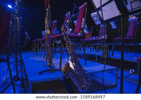 Musical instruments before the concert of the Symphony orchestra #1589168497