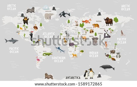Animals world map for kids wallpaper design