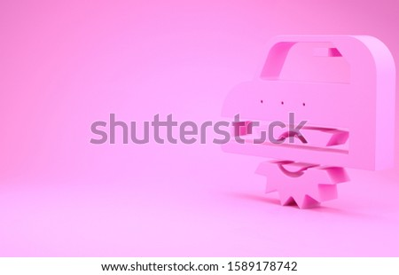 Pink Electric circular saw with steel toothed disc icon isolated on pink background. Electric hand tool for cutting wood or metal. Minimalism concept. 3d illustration 3D render #1589178742