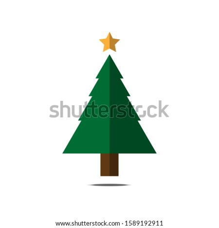 Christmas tree vector is postcard on white background. #1589192911