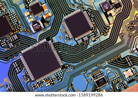 Electronic circuit board close up.  #1589199286