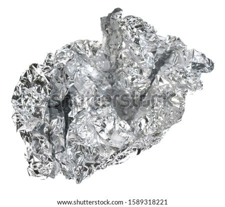 Peace of aluminium foil for recycling isolated on white. #1589318221