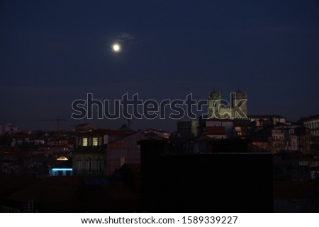 Night view of Porto Cathedral in the moonlight #1589339227