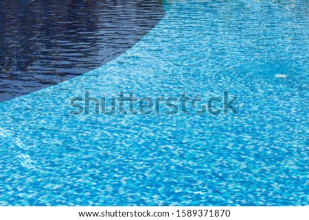 Surface of the pool, waves. The structure of blue tiles through the water. #1589371870