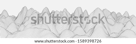 Vector wireframe 3d landscape. Technology grid illustration. Network of connected dots and lines on white background. #1589398726