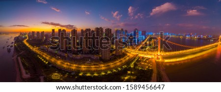 Wuhan city sunset and night aerial photography scenery in summer