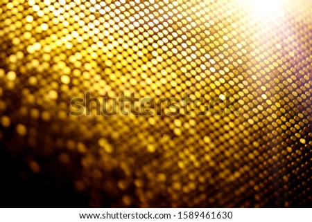 Abstract gold particle background, backdrop with glowing golden dots, hi-tech concept, yellow color screen. Modern mosaic border design. Christmas holiday Widescreen. Backdrops #1589461630