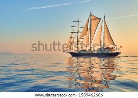 Cruises and yachting. Sailing ship with sails at sunset #1589462686