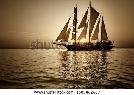Sailing ship under white sails at sunset. Sea cruises. Yachting Travel #1589462689