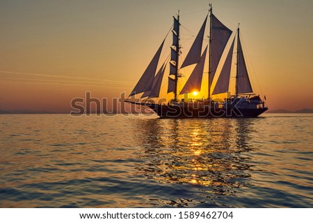 Yachting.Sailing ship under white sails at sea. Travel #1589462704