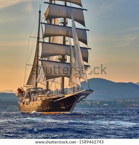 Sailing cruises on a sailing ship. Yachting. Romantic travel #1589462743