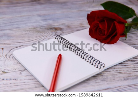 Valentine's day background. On a gray wooden background, an opened notebook, a red pen and a red rose. Close-up, horizontal, side view, free space for text.