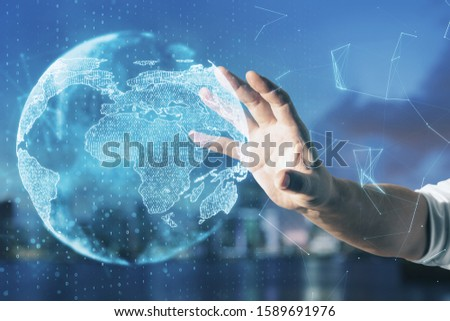 Hand using glowing social network infograph. Business and communication concept. #1589691976