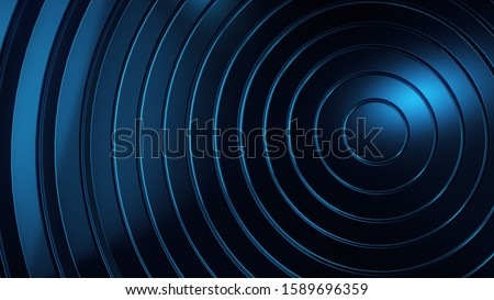 Abstract graphic background and texture, blue circles circles, layers. Science and technology concept background. #1589696359