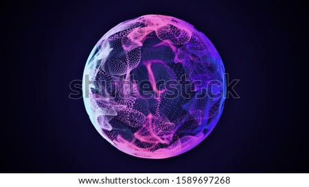 Science and technology abstract graphic background and texture, sphere planet circle, blue and pink tones, on dark backgroundю Royalty-Free Stock Photo #1589697268