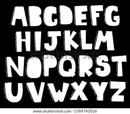 English font alphabet lettering cartoon elements set clip