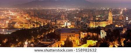 View over Malaga at night Andalusia Spain #158982632