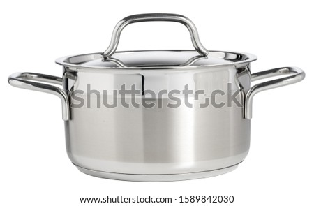 Stainless steel saucepan isolated on white background #1589842030