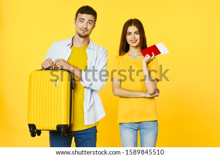 Friends family young people yellow suitcase travel passport tickets #1589845510