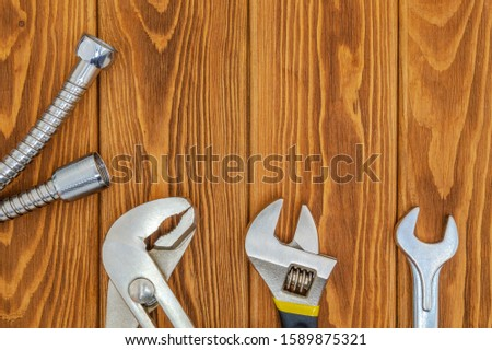 Tools for plumbing and accessories of various designs application on vintage wooden boards #1589875321