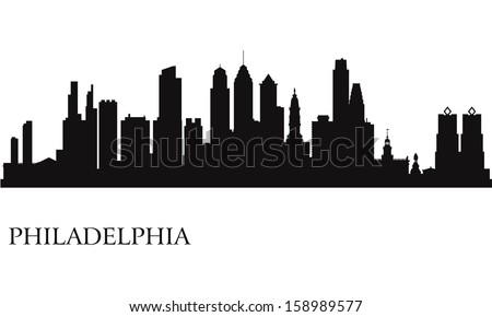 Philadelphia city skyline silhouette background. Vector illustration