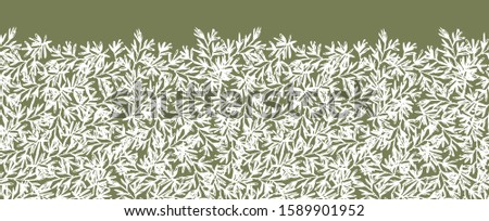 Vector green and white herb rosemary horizontal border repeat pattern with sketched leaves texture. Perfect for fabric and invitation cards. #1589901952