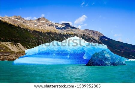 Mountain lake glacier landscape in Argentina. Perito Moreno glacier view. Perito Moreno glacier in Patagonia, Argentina. Perito Moreno glacier #1589952805