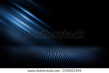 Dark street, wet asphalt, reflections of rays in the water. Abstract dark blue background, smoke, smog. Empty dark scene, neon light, spotlights. Concrete floor