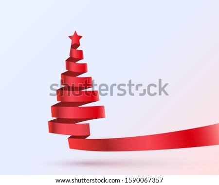 Christmas tree tape design banner, art decoration. Vector illustration #1590067357