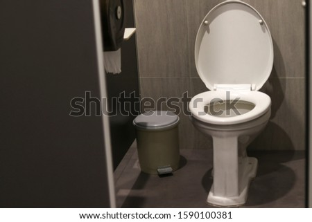 White flush toilet in the toilet with toilet paper and bin. #1590100381