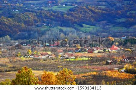 village in the distance autumn landscape #1590134113