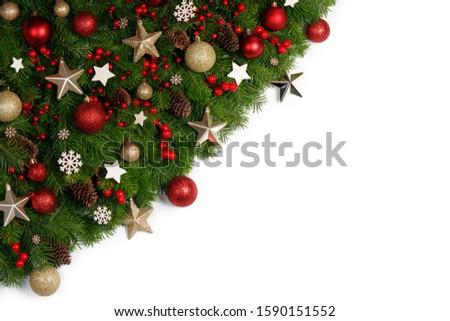 Christmas New year decoration frame isolated on white #1590151552