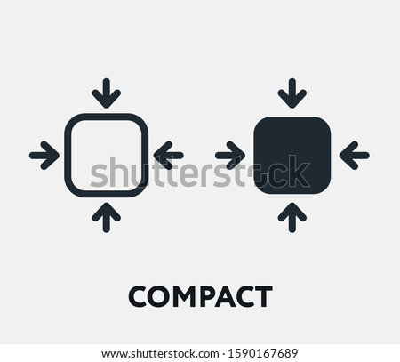 Compact Size Small Scale Fit Flat Vector Line Icon