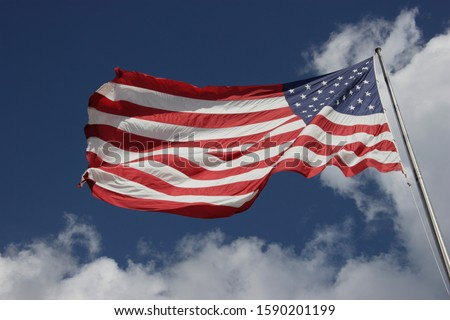 Low angle view of American flag #1590201199